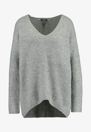 VNECK BOXY JUMPER - Pullover - mid grey melange