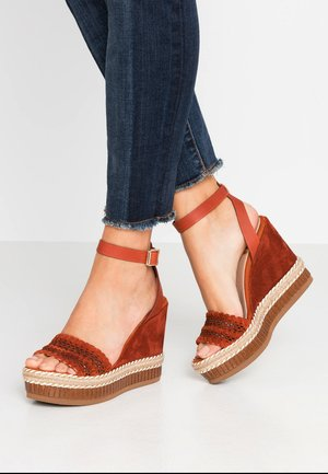 SALLY - High heeled sandals - red metallic
