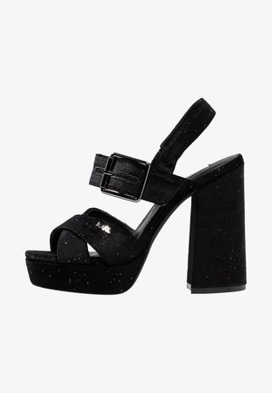 PYRAMIDE II GLITTER SLING - High heeled sandals - black