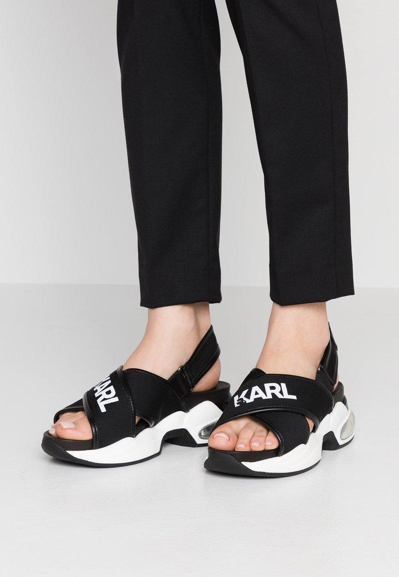 KARL LAGERFELD - X-STRAP SLING - Platform sandals - black/white