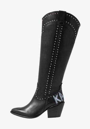 KAVALIER STUD LEG - Cowboy-/Bikerlaarzen - black/silver