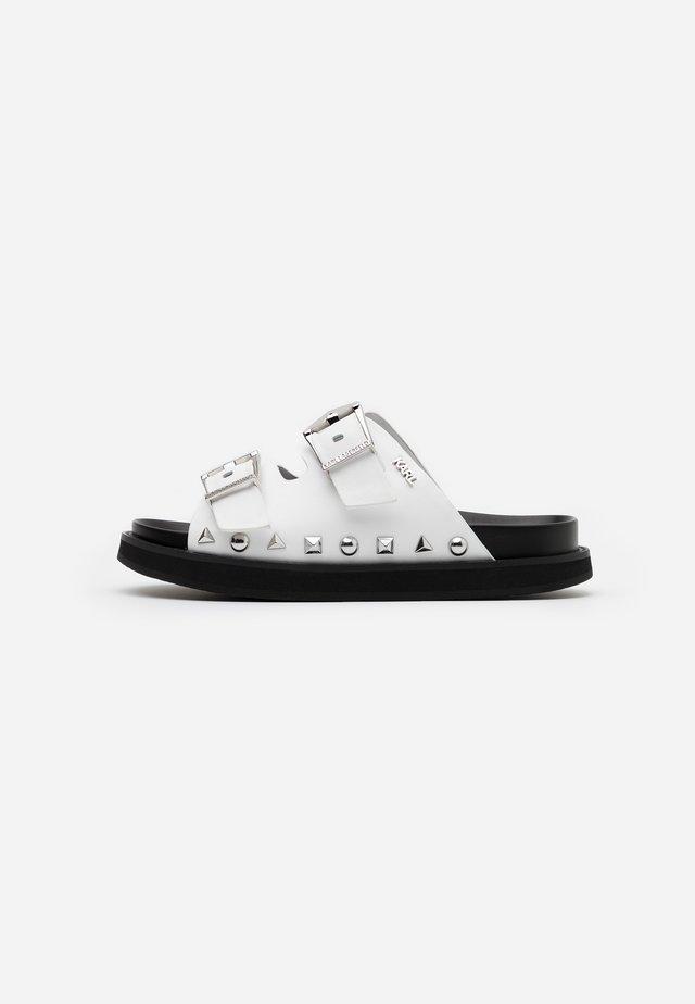 MEDINA BUCKLE TWO STRAP - Klapki - white/black