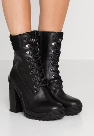 VOYAGE LACE BOOT - High heeled ankle boots - black