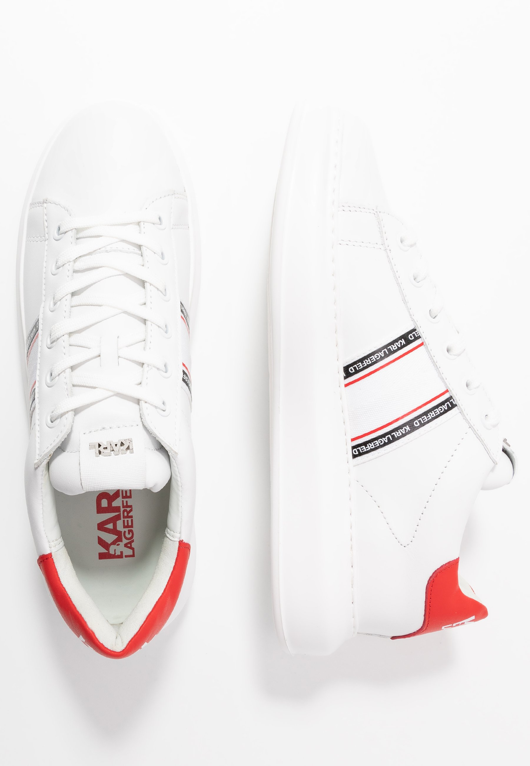 Karl Lagerfeld Kapri Mens Strip Logo Lace - Sneaker Low White Black Friday