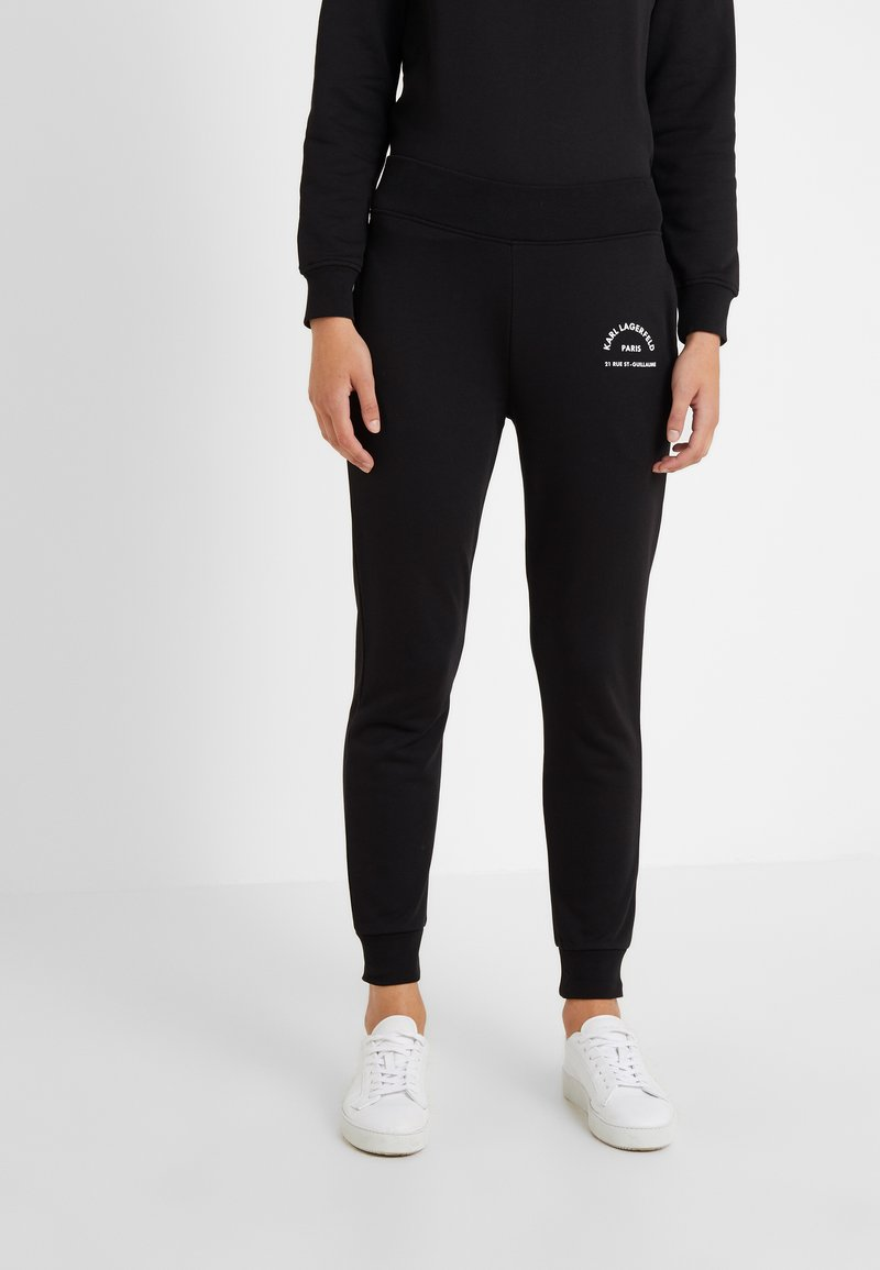 KARL LAGERFELD - ADDRESS LOGO TRACK PANTS - Tracksuit bottoms - black