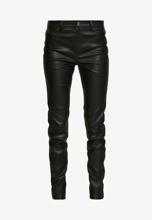 LEATHER BIKER PANTS - Skinnbukser - black