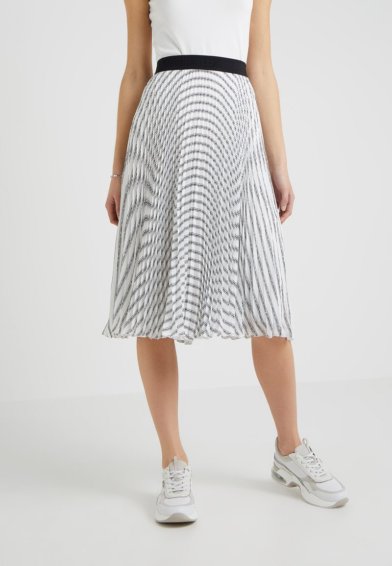 KARL LAGERFELD - PLEATED LOGO MIDI SKIRT - A-Linien-Rock - white