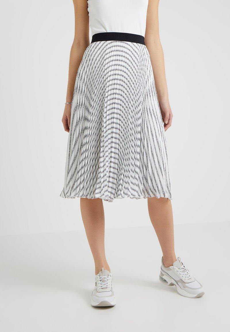 KARL LAGERFELD - PLEATED LOGO MIDI SKIRT - A-line skirt - white