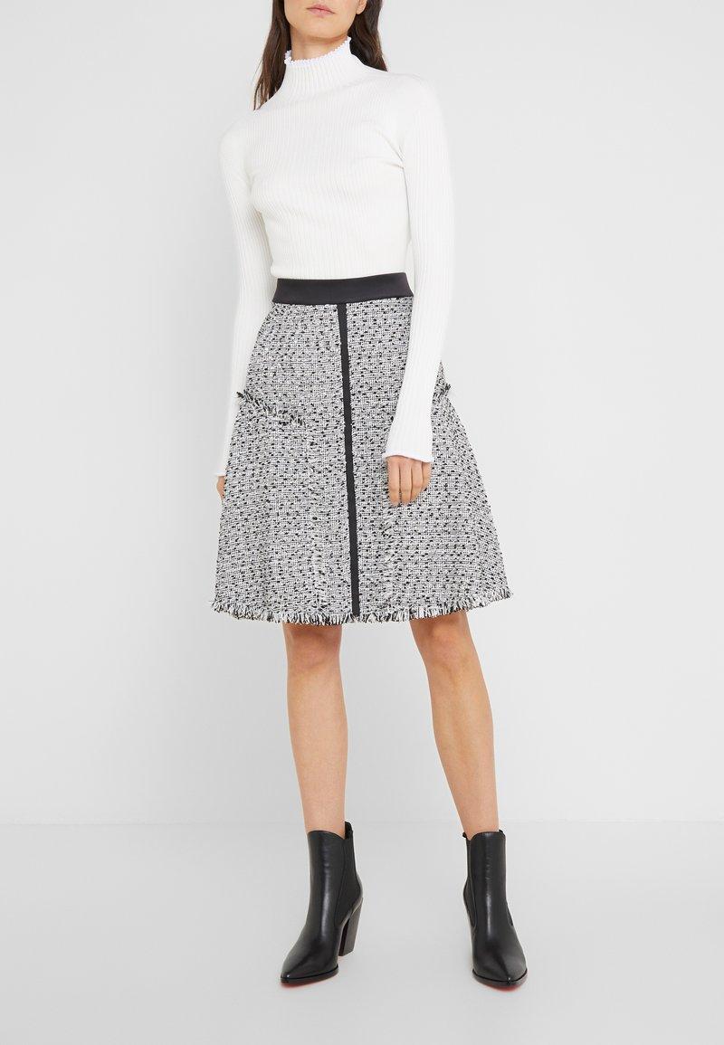 KARL LAGERFELD - BOUCLE  - A-line skirt - white/black