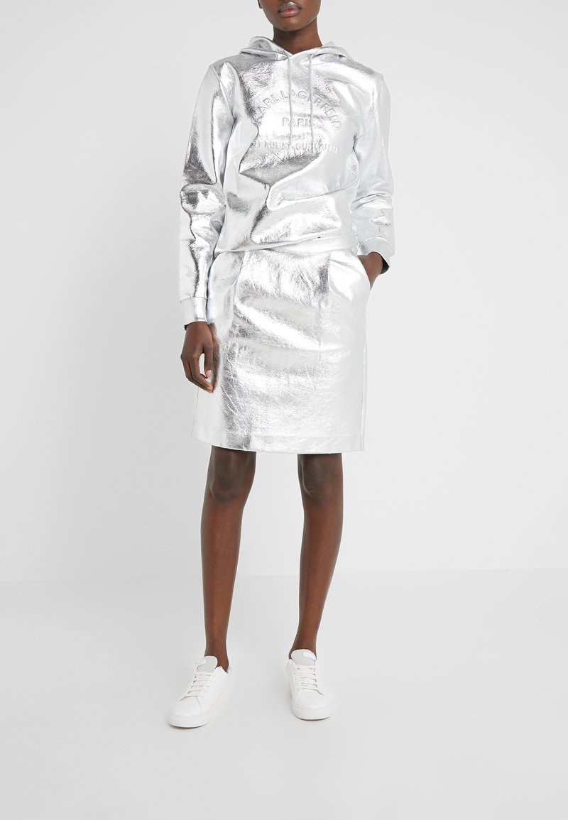 KARL LAGERFELD - COATED SKIRT - Jupe trapèze - silver