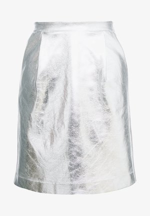 COATED SKIRT - Áčková sukně - silver