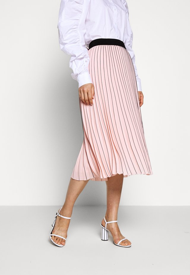 PIN STRIPE PLEATED SKIRT - A-Linien-Rock - rose smoke