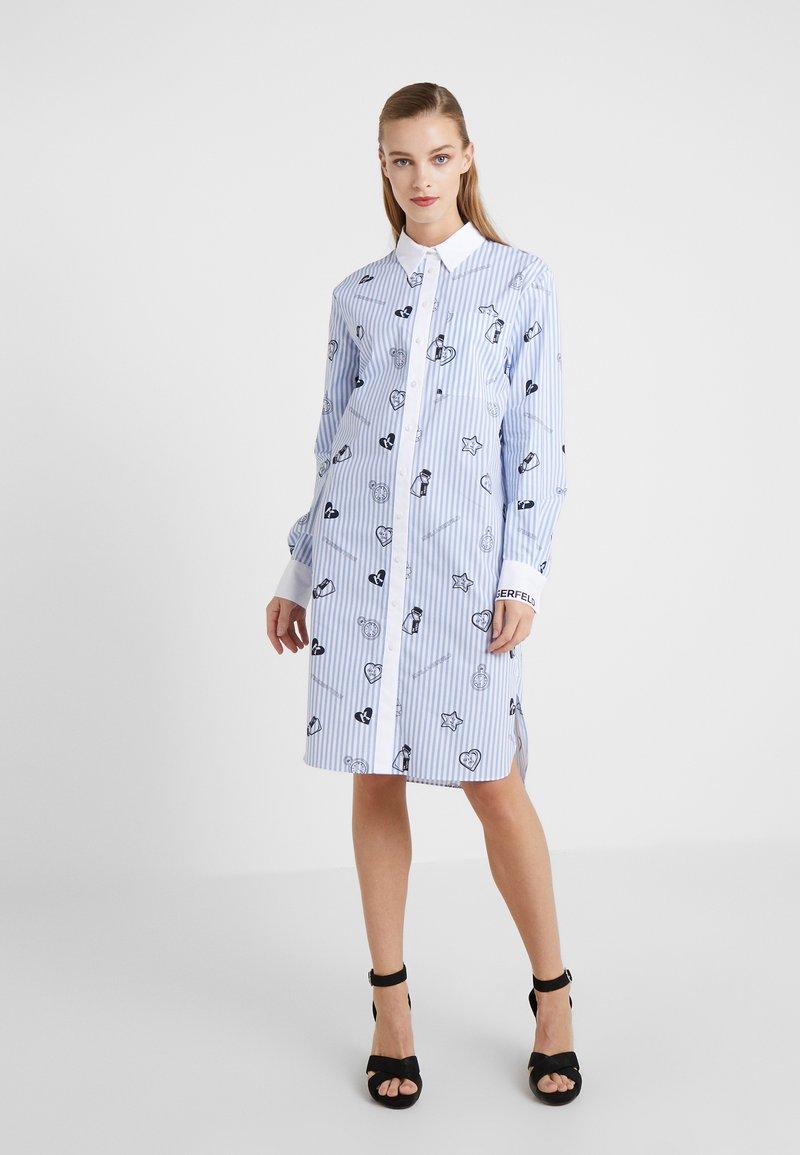 KARL LAGERFELD - SHIRT DRESS - Skjortekjole - blue