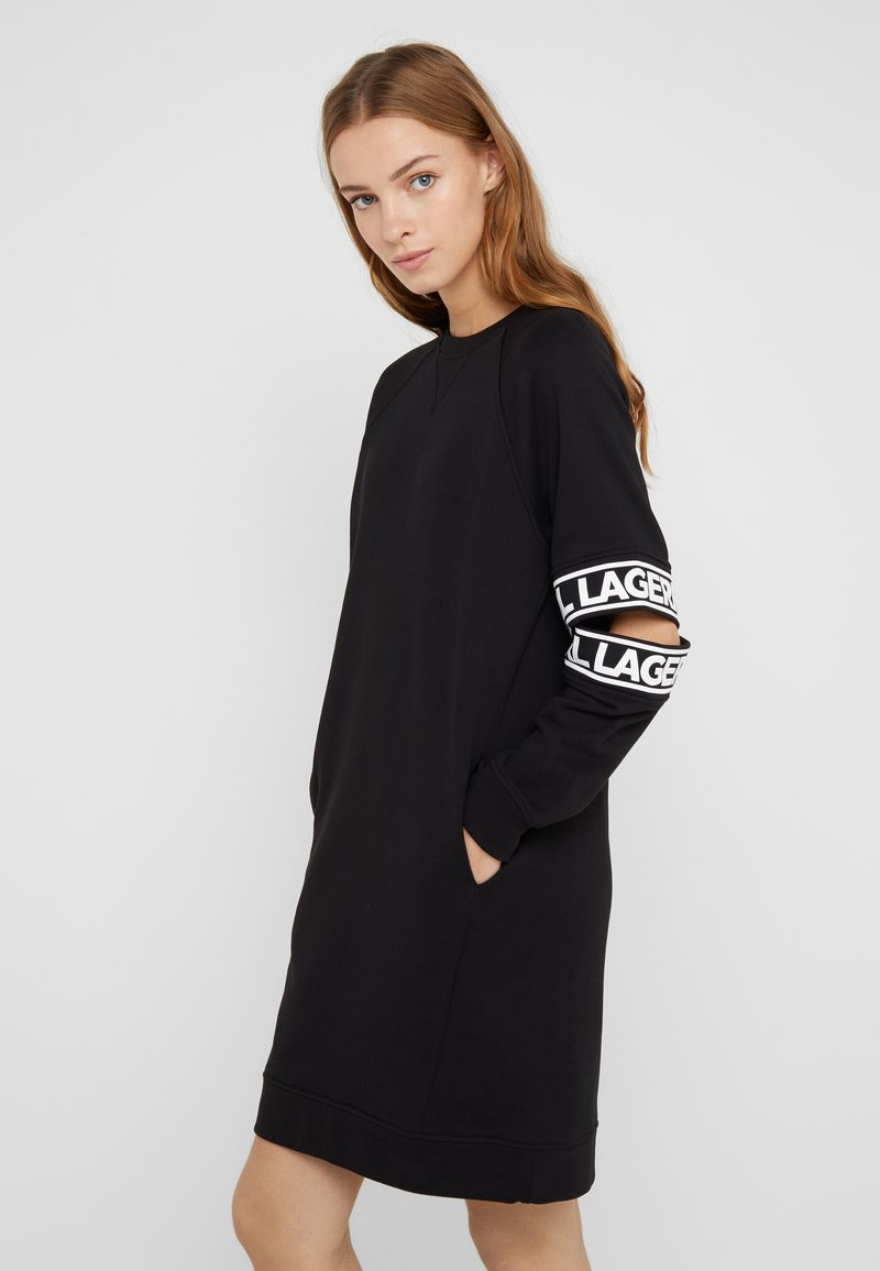 KARL LAGERFELD - CUT OUT SLEEVE DRESS - Hverdagskjoler - black