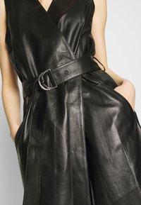 KARL LAGERFELD - LEATHER WRAP DRESS - Shirt dress - black - 5