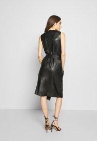 KARL LAGERFELD - LEATHER WRAP DRESS - Shirt dress - black - 2
