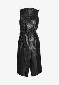 KARL LAGERFELD - LEATHER WRAP DRESS - Shirt dress - black - 4