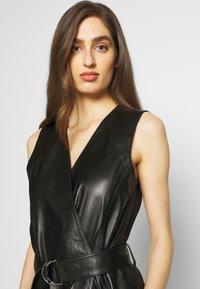KARL LAGERFELD - LEATHER WRAP DRESS - Shirt dress - black - 3