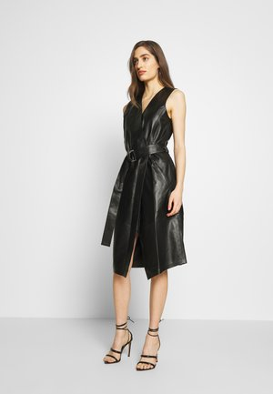 LEATHER WRAP DRESS - Shirt dress - black