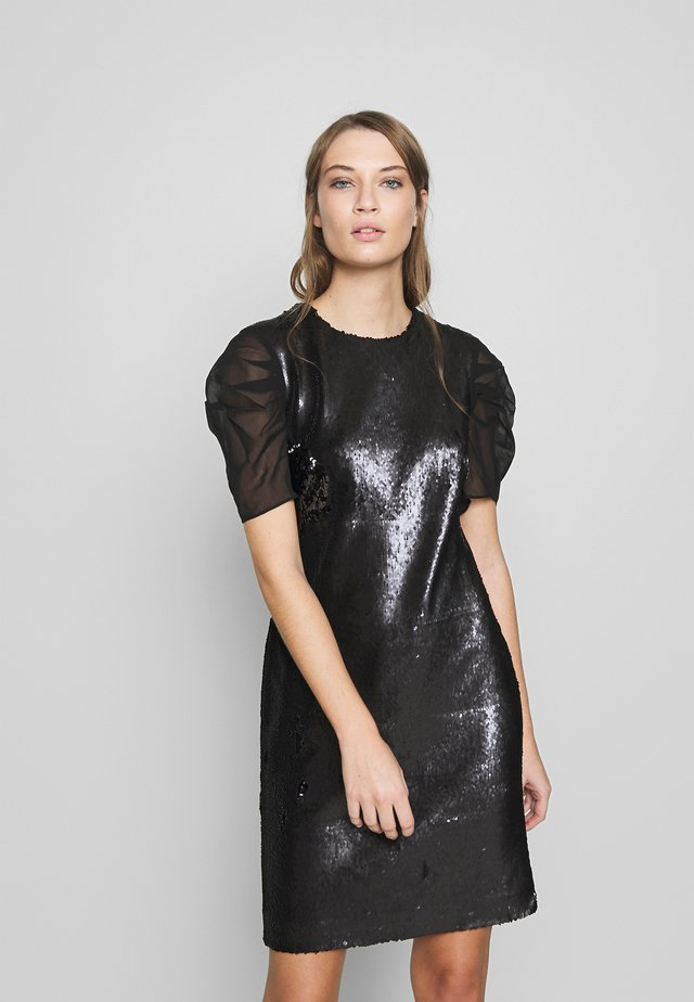 SEQUINS DRESS WITH PUNTO - Vestido de cóctel - black