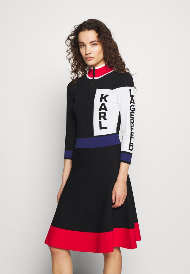 COLORBLOCK LOGO DRESS - Vestido de punto - black