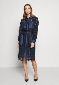 KARL LAGERFELD - BURN OUT DRESS - Vestido camisero - blue - 0