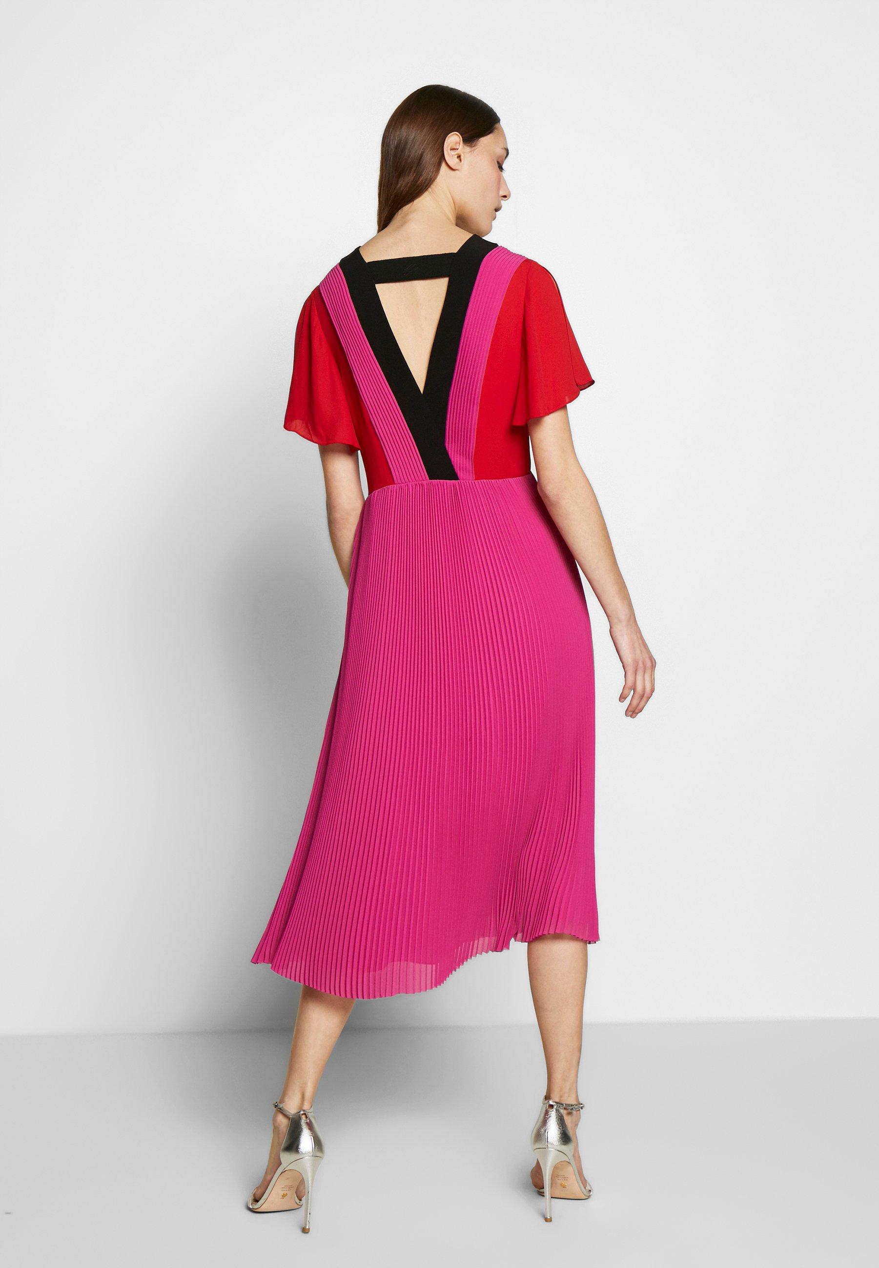 KARL LAGERFELD PLEATED COLOUR BLOCK DRESS - Sukienka letnia - red/fuchsia