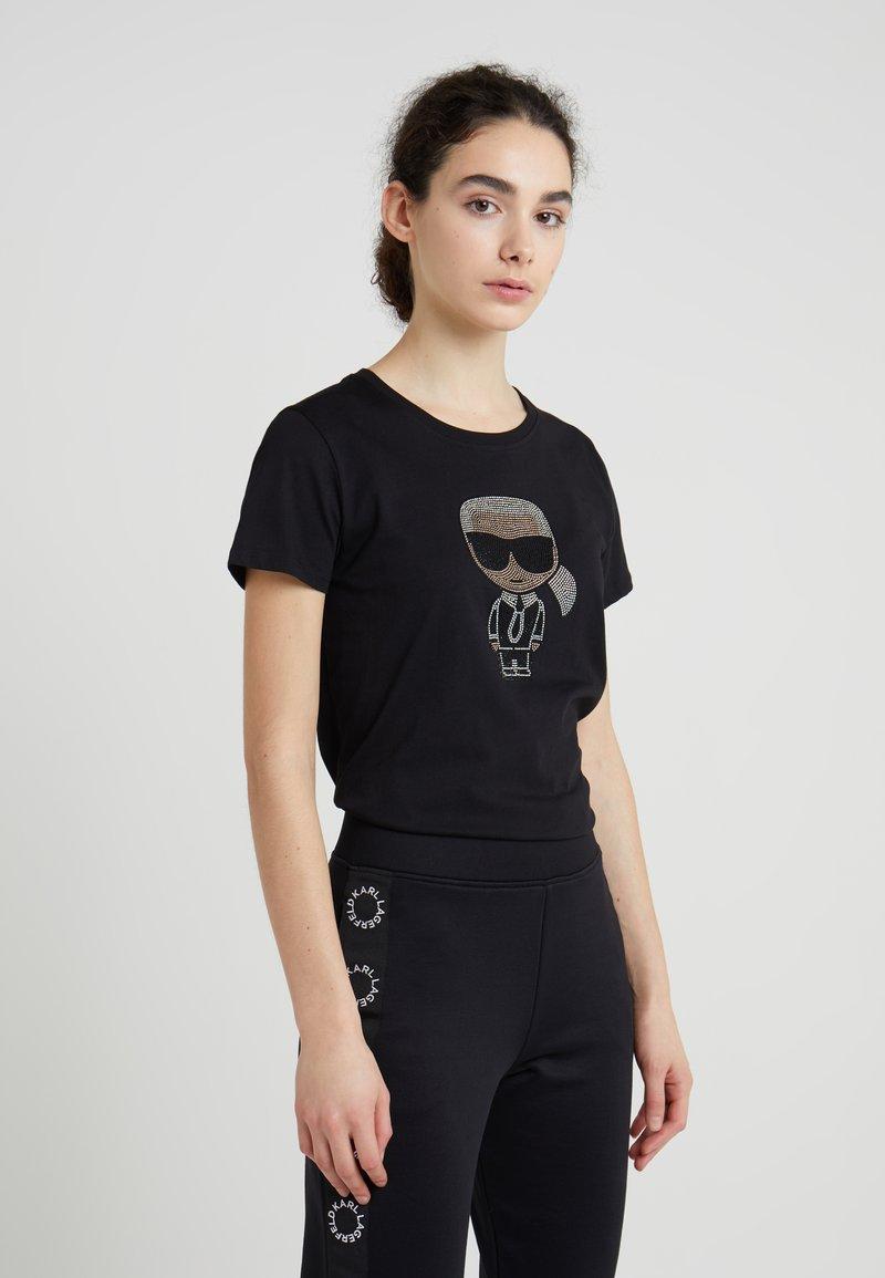 KARL LAGERFELD - IKONIK RHINESTONE - T-shirt print - black