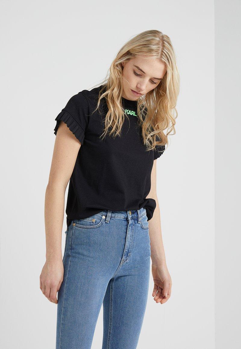 KARL LAGERFELD - NEON LIGHTS FRILL SLEEVES TEE - T-shirt print - black