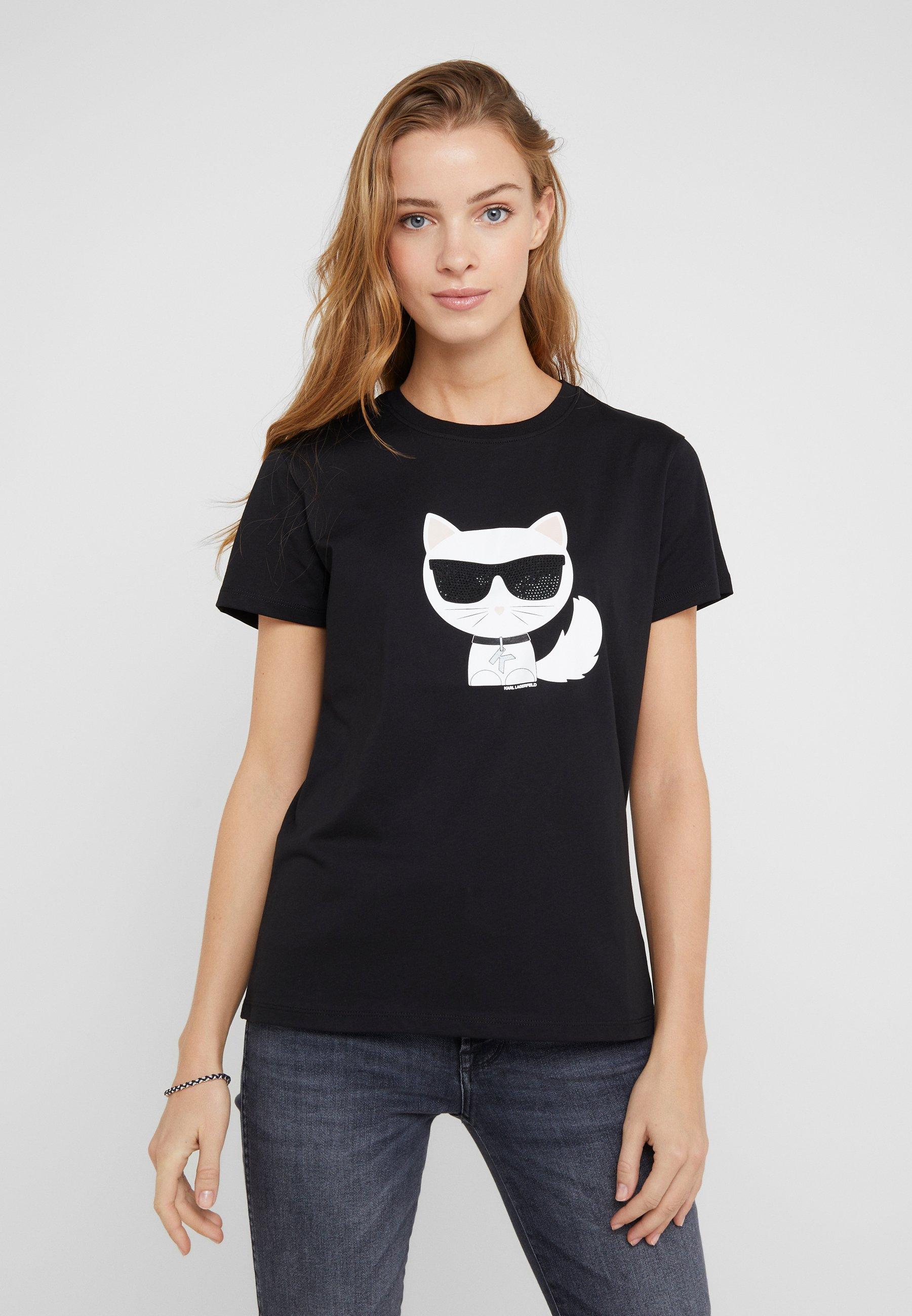 Black Lagerfeld Karl ChoupetteT shirt Ikonik Imprimé MpSUVqzG