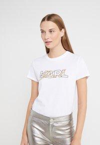 KARL LAGERFELD - DOUBLE LOGO  - Print T-shirt - white - 0
