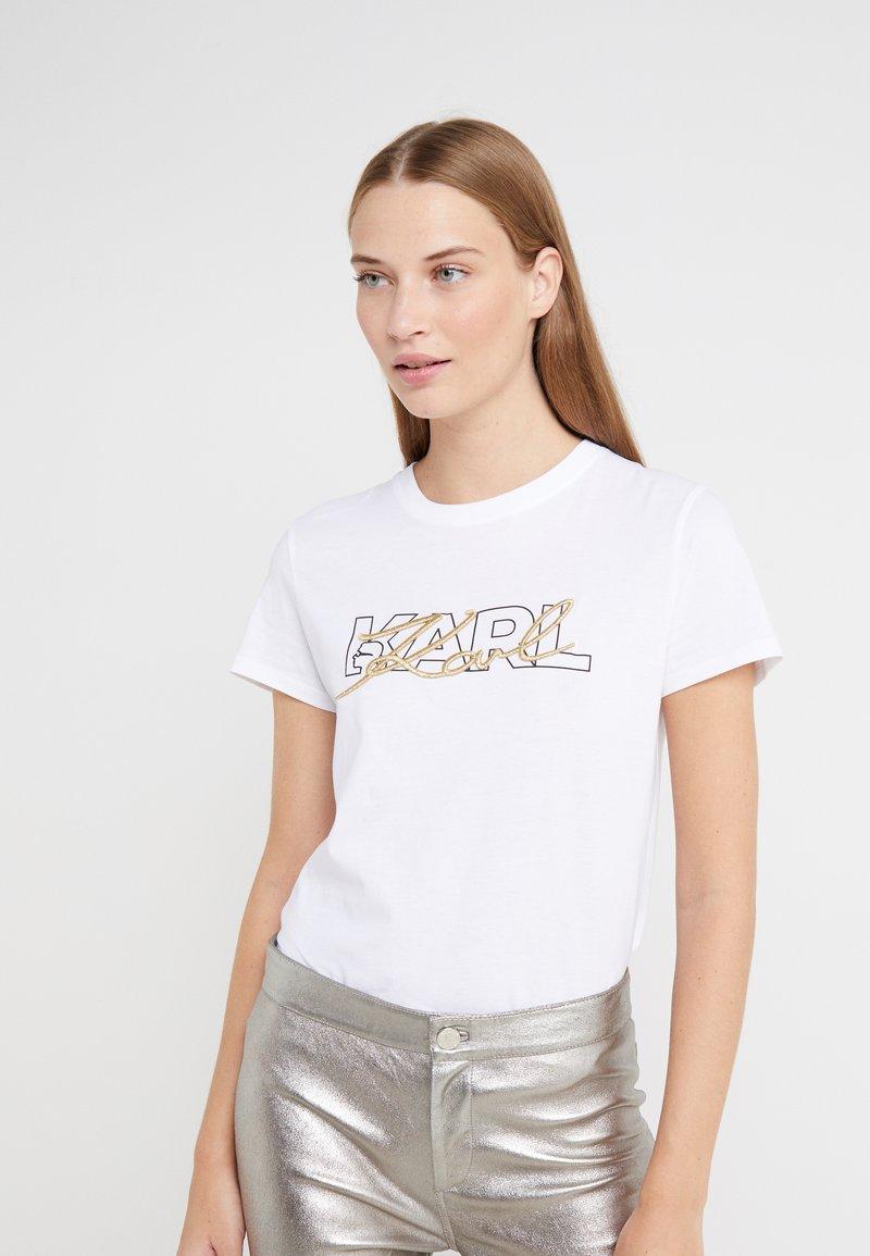 KARL LAGERFELD - DOUBLE LOGO  - Print T-shirt - white