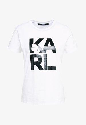 SQUARE LOGO TEE - T-shirts med print - white/black