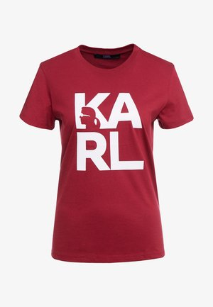 SQUARE LOGO TEE - Camiseta estampada - burgundy