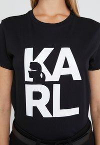 KARL LAGERFELD - SQUARE LOGO TEE - Camiseta estampada - black - 5