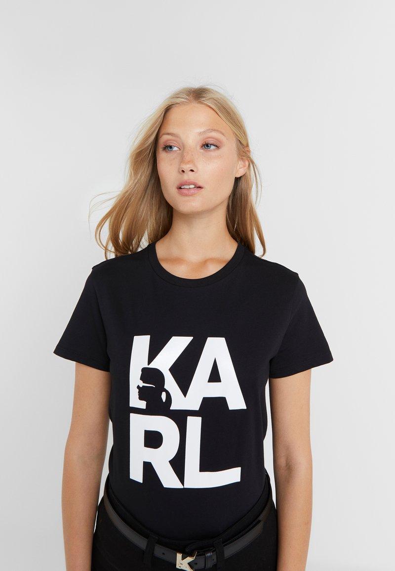 KARL LAGERFELD - SQUARE LOGO TEE - Print T-shirt - black