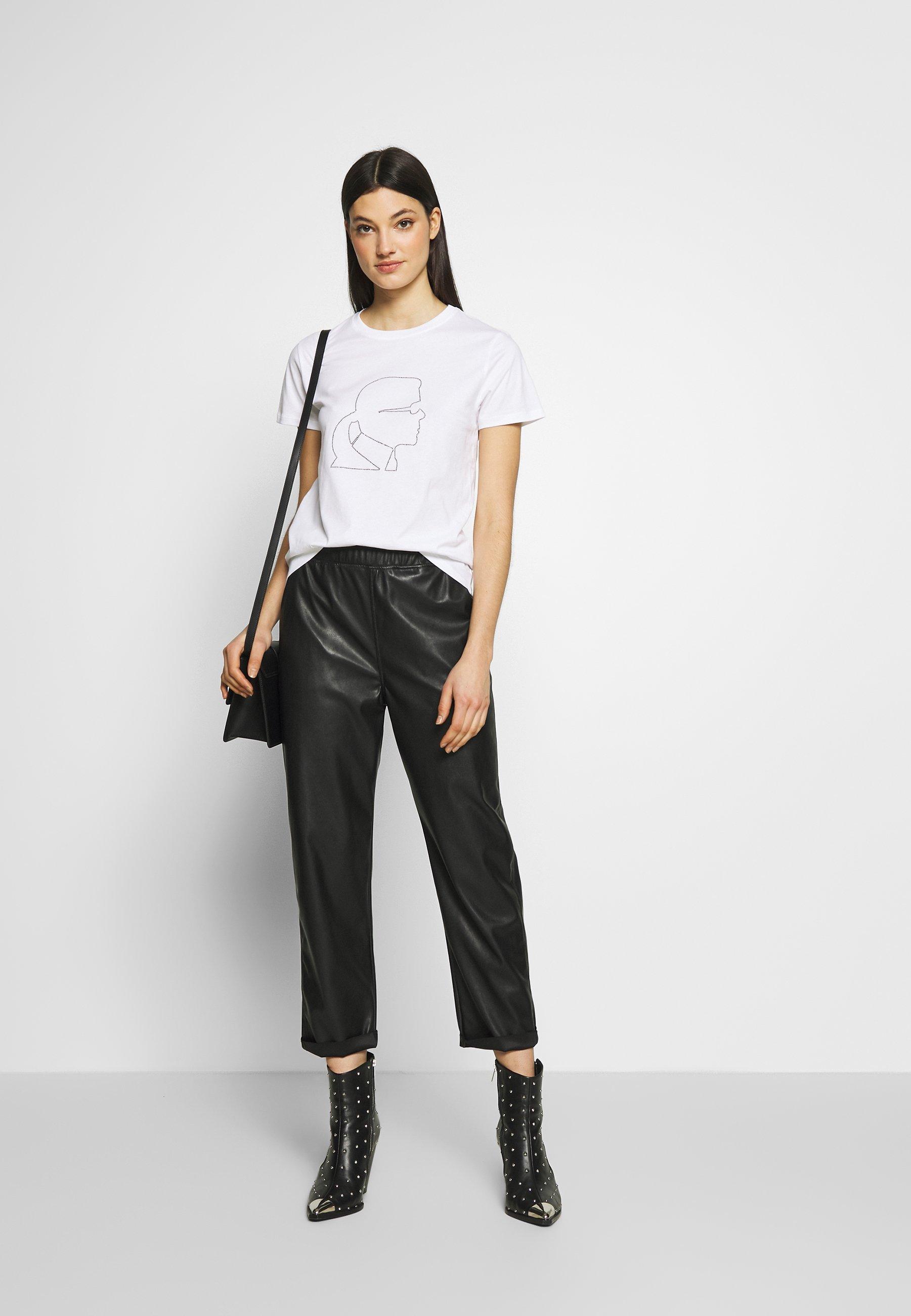 Karl Lagerfeld Profile Rhinestone Tee - T-shirt Print White Black Friday