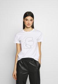 KARL LAGERFELD - PROFILE RHINESTONE TEE - T-shirt z nadrukiem - white - 0