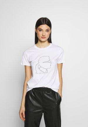 PROFILE RHINESTONE TEE - T-shirt z nadrukiem - white