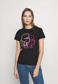 KARL LAGERFELD - PROFILE TEE - T-shirt z nadrukiem - black - 0