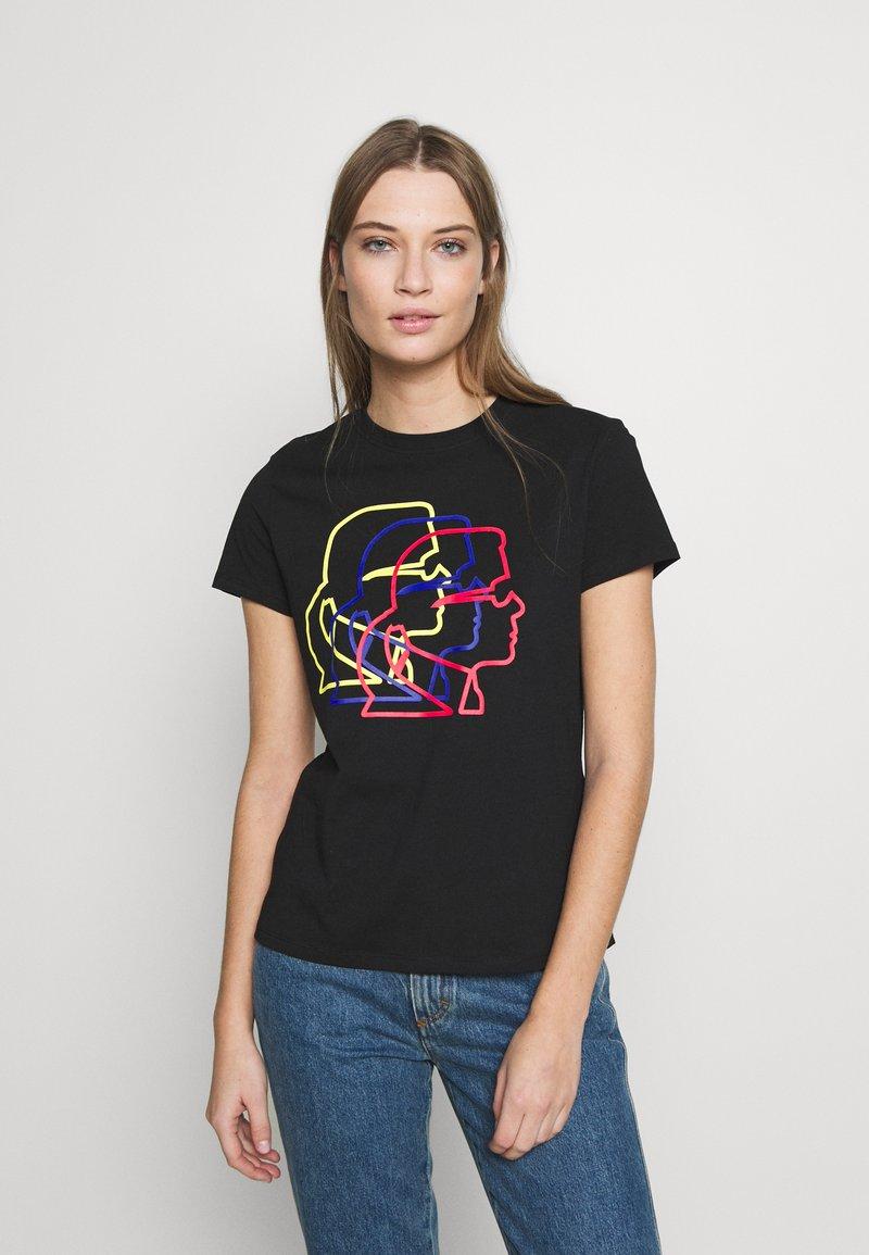 KARL LAGERFELD - PROFILE TEE - T-shirt z nadrukiem - black