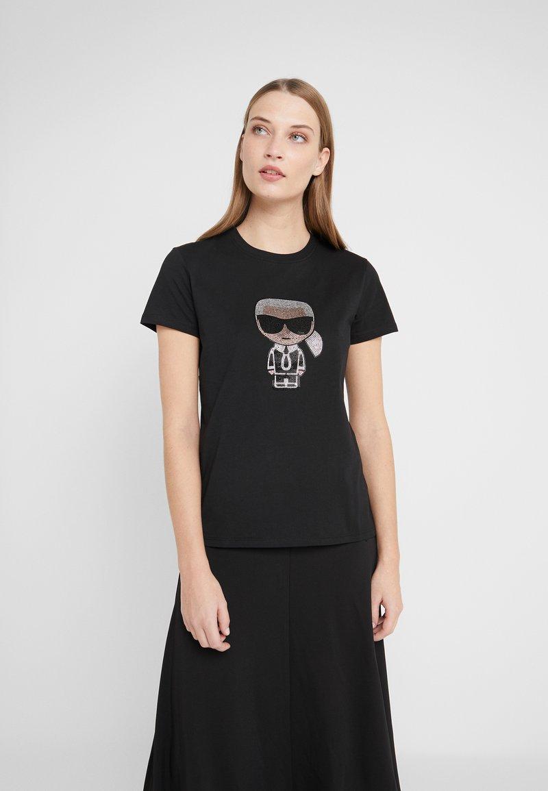 KARL LAGERFELD - IKONIK RHINESTONE  - T-shirts med print - black
