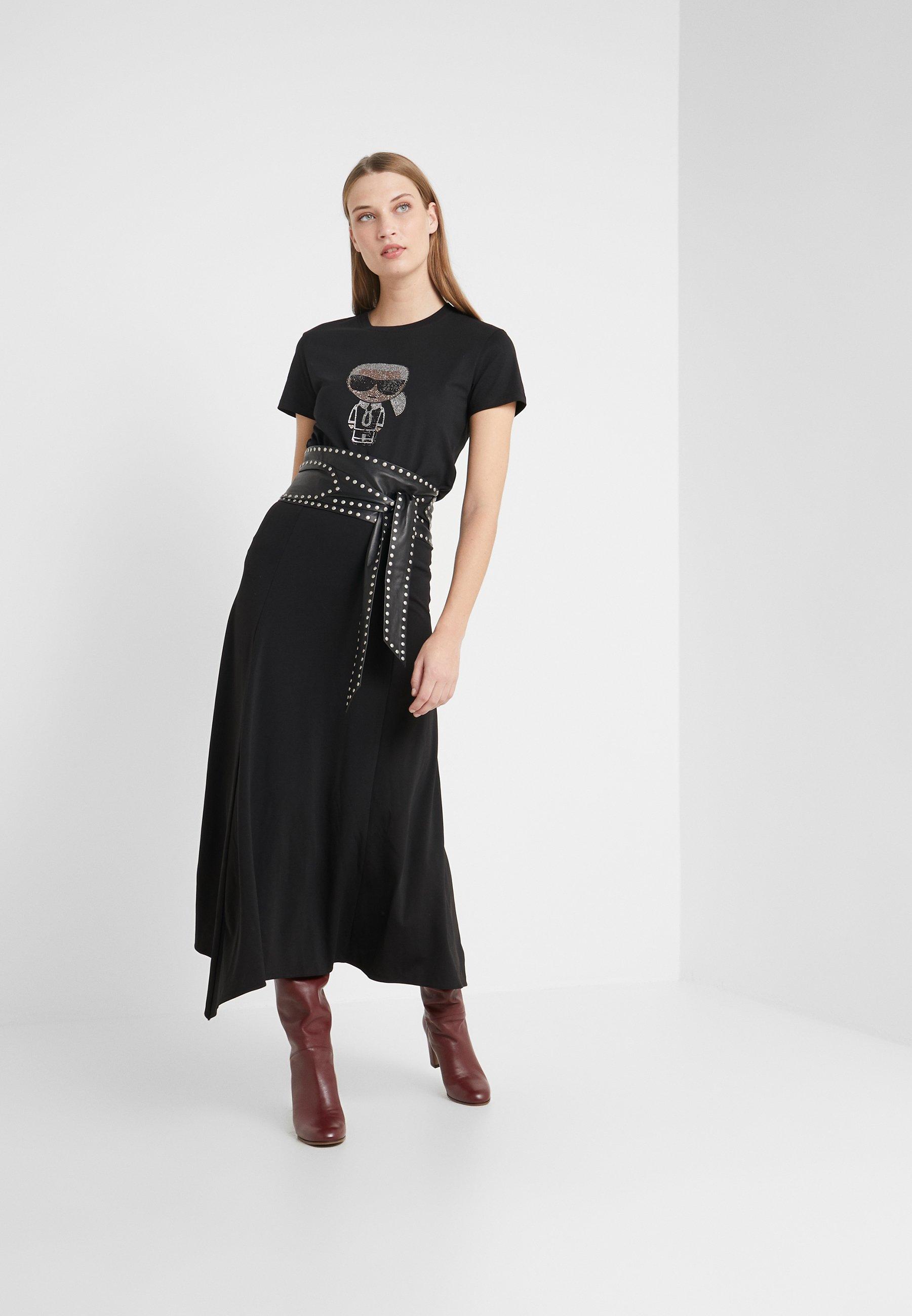 KARL LAGERFELD IKONIK RHINESTONE - T-shirt z nadrukiem - black