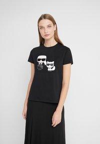 KARL LAGERFELD - IKONIK CHOUPETTE TEE - T-shirt imprimé - black - 0