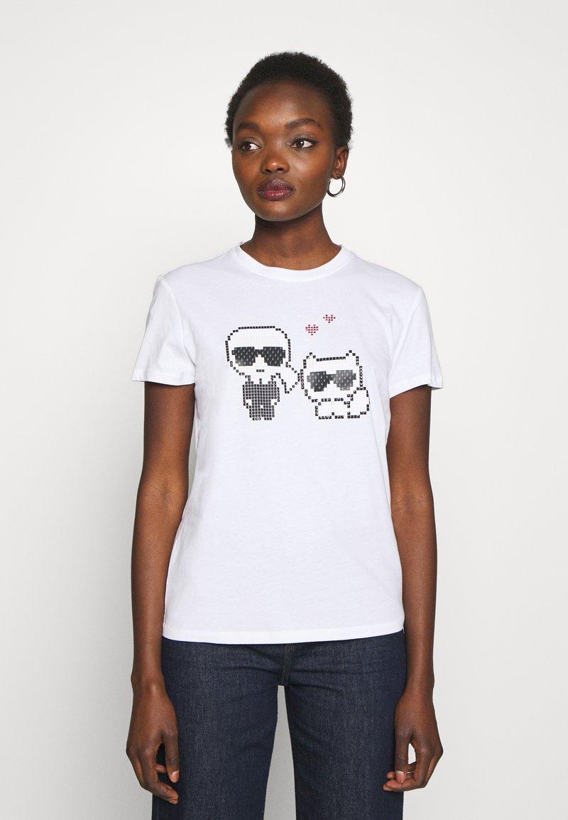KARL LAGERFELD - PIXEL CHOUPETTE - T-shirt print - white