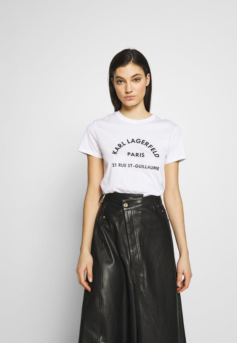 KARL LAGERFELD - ADDRESS LOGO TEE - T-shirt imprimé - white