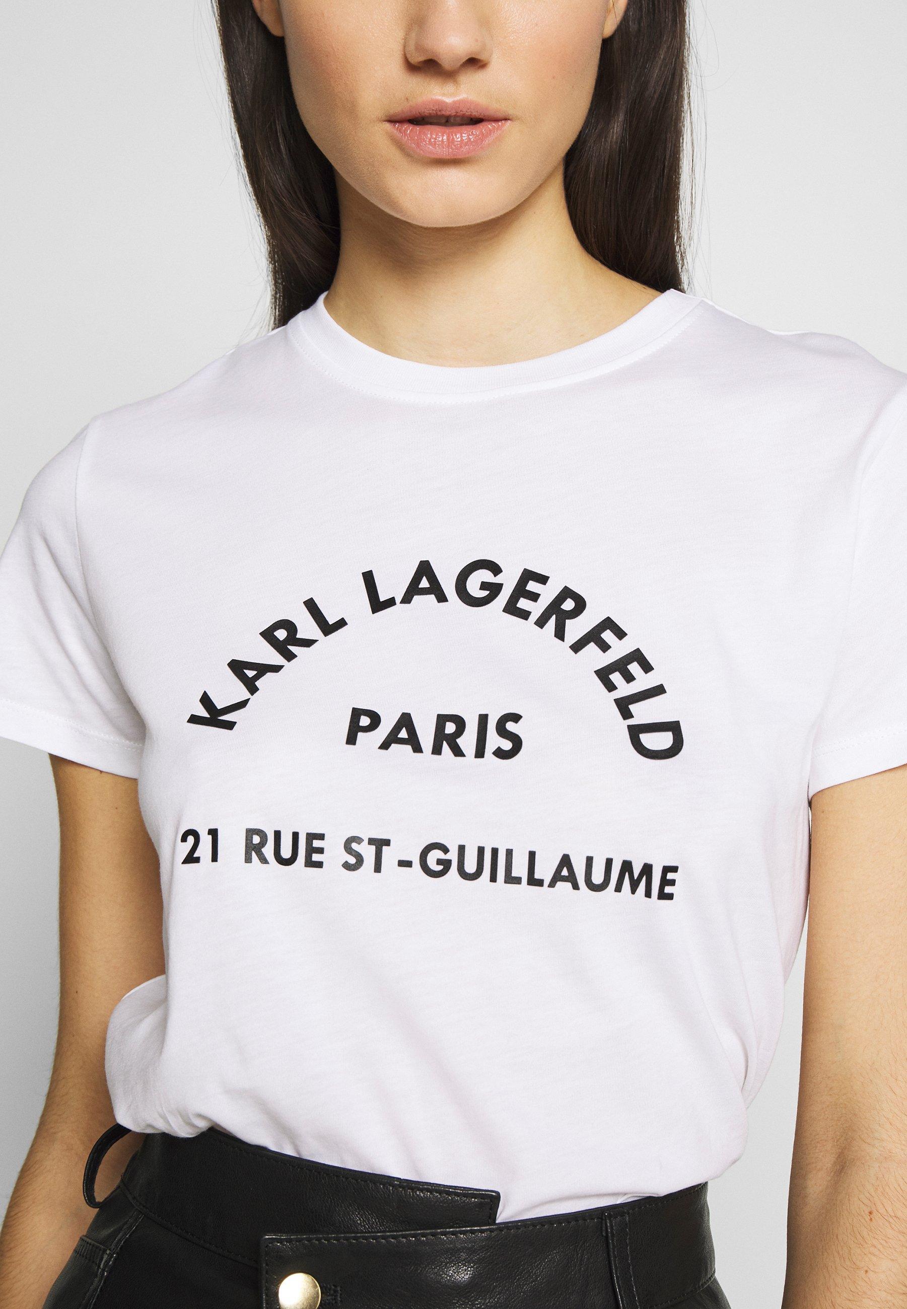 KARL LAGERFELD ADDRESS LOGO TEE - T-shirt z nadrukiem - white