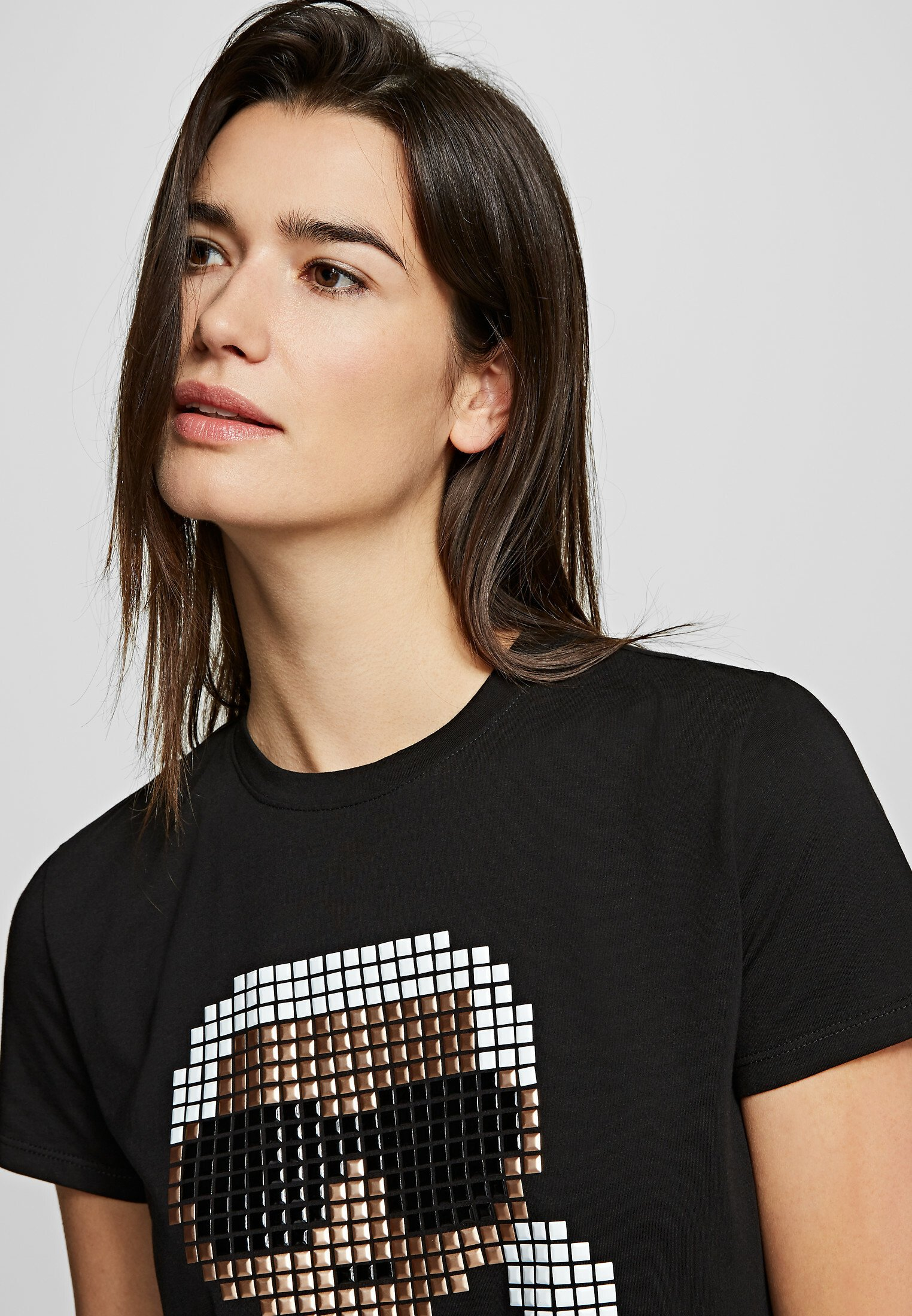 Karl Lagerfeld Pixel - Print T-shirt Black UK