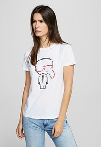 KARL LAGERFELD - OUTLINE  - Print T-shirt - white - 0