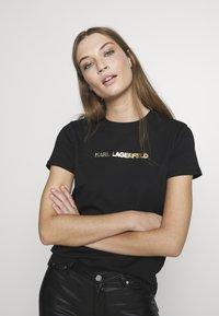KARL LAGERFELD - IKONIK LOGO - Camiseta estampada - black - 0